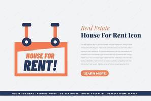 icono de casa de bienes raíces en alquiler vector