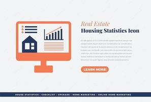 real estate housing statistics icon design vector