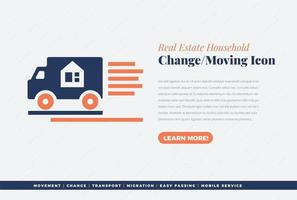 real estate house changing icon design vector