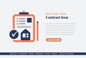real estate contract sign icon design vector