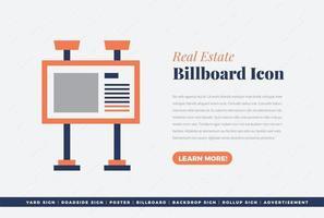 diseño de icono de banner de cartelera de bienes raíces vector