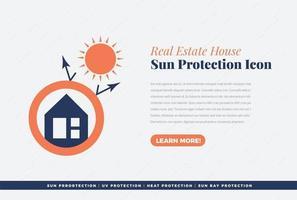 diseño de icono de protección solar en casa vector