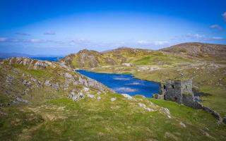 Relaxing at the vintage Three Castle Head on Mizen Peninsula in Ireland photo