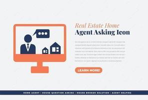 diseño de icono de agente inmobiliario vector