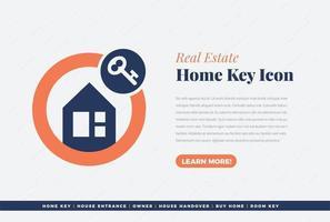 diseño de icono de llave de casa de bienes raíces vector