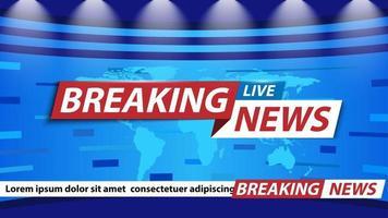 Breaking news background, TV channel news screensaver, vector illustration