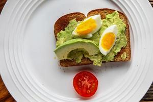 Toast with avocado and eggs on plate photo