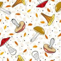 Seamless autumn pattern with mushrooms and leaves. Hand drawn pattern in flat style. Wallpaper, textiles, wrapping paper, page filling, cover, web, packaging. vector