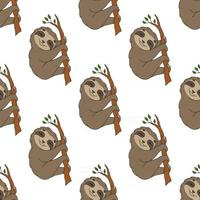 Happy sloth. Colored seamless pattern with cute cartoon character. Simple flat vector illustration isolated on white background. Design wallpaper, fabric, wrapping paper, covers, websites.