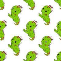 iguana feliz. patrón transparente coloreado con personaje de dibujos animados lindo. Ilustración de vector plano simple aislado sobre fondo blanco. diseño de papel tapiz, tela, papel de regalo, cubiertas, sitios web.