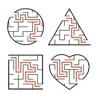 A set of mazes. Circle, square, triangle, heart. Game for kids. Puzzle for children. One entrances, one exit. Labyrinth conundrum. Flat vector illustration isolated on white background. With answer.