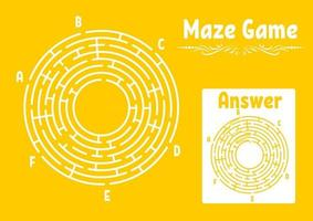 Abstract round maze. Game for kids. Puzzle for children. Labyrinth conundrum. Flat vector illustration isolated on color background. With answer. Vintage style