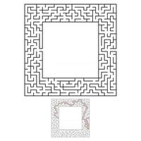 Black square maze with entrance and exit. An interesting and useful game for children. Simple flat vector illustration isolated on white background. With a place for your drawings. With the answer.