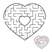 Abstract heart shaped labyrinth. Game for kids and adults. Puzzle for children. Labyrinth conundrum. Flat vector illustration isolated on white background. Love search concept. With answer.