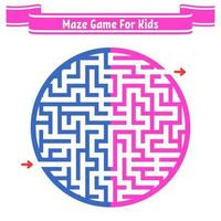 Color round maze. Painted in different colors. Game for kids and adults. Puzzle for children. Labyrinth conundrum. Flat vector illustration isolated on white background.