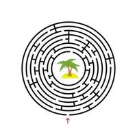 Black round labyrinth with entrance and exit. An interesting and useful game for children. Simple flat vector illustration isolated on white background.