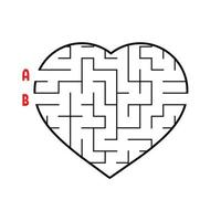 Labyrinth in the shape of a heart. Game for kids. Puzzle for children. Find the right way. Maze conundrum. Flat vector illustration isolated on white background.