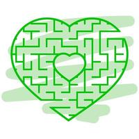 Color heart shaped labyrinth. Game for kids and adults. Puzzle for children. Labyrinth conundrum. Flat vector illustration isolated on white background. Love search concept.