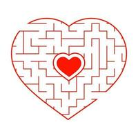 Red heart shaped labyrinth. Game for kids and adults. Puzzle for children. Labyrinth conundrum. Flat vector illustration isolated on white background. Love search concept.