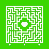 Abstract white square maze. Find the right path to the heart. Labyrinth conundrum. Love search concept. Flat vector illustration isolated on color background.