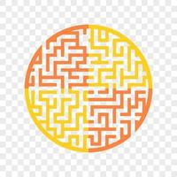 Color round maze. Painted in different colors. Game for kids and adults. Puzzle for children. Labyrinth conundrum. Flat vector illustration isolated on transparent background.