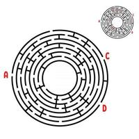 Abstract round maze. Game for kids. Puzzle for children. Find the right path. Labyrinth conundrum. Flat vector illustration isolated on white background. With answer. With place for your image.