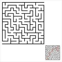Abstract square maze. An interesting and useful game for kids. Children's puzzle. Labyrinth conundrum. Simple flat vector illustration isolated on color background. With the answer.