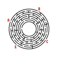 Abstract round maze. Game for kids. Puzzle for children. Find the right path. Labyrinth conundrum. Flat vector illustration isolated on white background. With place for your image.