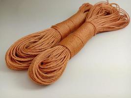 chocolate colored nylon yarn closeup photo