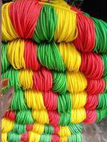 multiple colored nylon yarn background photo