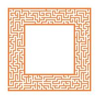 Sophisticated color square maze frame. Game for kids and adults. Puzzle for children. One entrance, one exit. Labyrinth conundrum. Flat vector illustration. With place for your image.