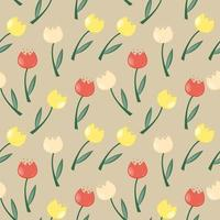 Floral Seamless Pattern Background with Tulips Vector Illustration