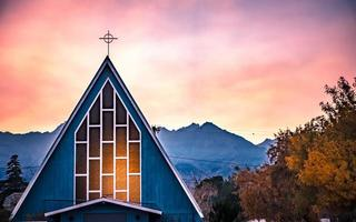 chapel in bishop california autumn season photo