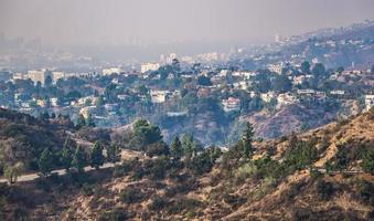 beverly hills and hollywood hills at sunset during woosley fires photo