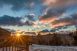 beautiful nature sunrise at snowshoe west virginia ski resort photo
