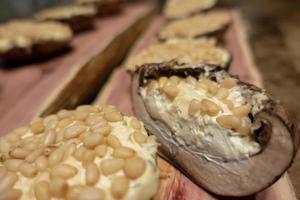 grilling portobello mushrooms on cedar plank photo