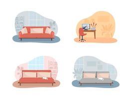 sala de estar y dormitorio 2d vector ilustración aislada