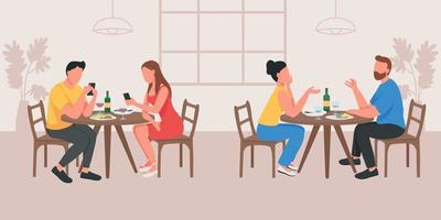 Couples on date in cafe flat color vector illustration