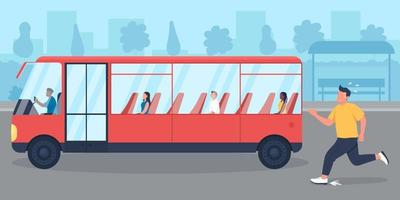 Being late for bus flat color vector illustration