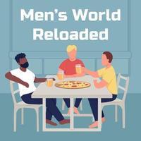 Friends eat pizza social media post mockup vector