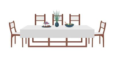 Dining table for family semi flat color vector object