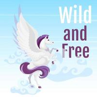 Wild and free social media post mockup. Greek mythological creature. Pegasus fly in sky. Horse with wings. Web banner design template. Social media booster, content layout. Poster flat illustrations vector