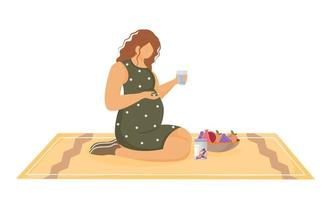 Pregnant woman taking pills flat vector illustration. Healthy nutrition and maintenance therapy. Young girl using vitamin tablets during pregnancy cartoon character on white background