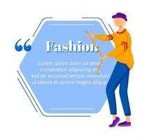 Fashion designer flat color vector character quote. Individual tailoring. Successful females. Haute couture atelier. Citation blank frame template. Speech bubble. Quotation empty text box design