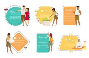 Bazaar sellers flat color vector character quotes set. Oriental fair. Asian marketplace for tourist advertising. Citation blank frame template. Speech bubble. Quotation empty text box design