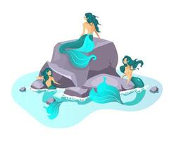 Sirens flat vector illustration. Fairy creature in sea. Fantastical half-woman beast. Enchanting monsters. Greek mythology. Mermaids on reef isolated cartoon character on white background