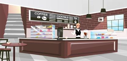Ilustración de vector plano interior de cafetería. barista femenina que ofrece bebidas personaje de dibujos animados. interior elegante con paredes de ladrillo vintage y muebles de madera. empleado de café de pie en el mostrador