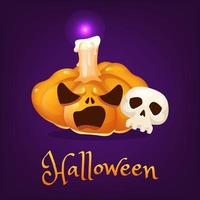 Creepy pumpkin cartoon illustration. Halloween carved lantern with evil smile, skull, candle and lettering isolated clipart. Scary realistic orange pumpkin sticker. Autumn holiday social media post vector