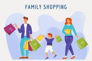 Family shopping flat vector illustration. Parents and son with paper bags cartoon characters. Mother, father and kid buying goods. Cheerful and smiling family. Consumerism and merchandise concept