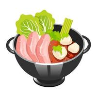 Japanese soup with sliced pork color icon. Tofu ma po. Asian dish in bowl. Eastern traditional cuisine. Spicy tofu with meat chops. Chinese food with beaf and vegetables. Isolated vector illustration